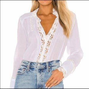 NWT Free People Clemence Button Down Ivory Blouse